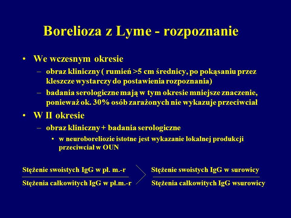 Borelioza z Lyme - rozpoznanie We wczesnym okresie –obraz kliniczny ( rumień >5 cm średnicy, po pokąsaniu przez kleszcze wystarczy do postawienia rozp