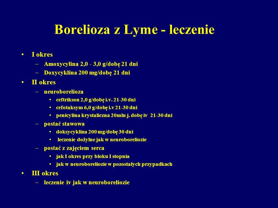 Borelioza z Lyme - leczenie I okres –Amoxycylina 2,0 - 3,0 g/dobę 21 dni –Doxycyklina 200 mg/dobę 21 dni II okres –neuroborelioza ceftrikson 2,0 g/dob