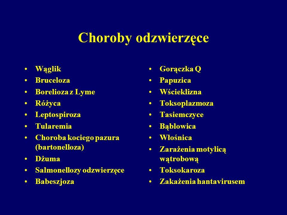 Choroby odzwierzęce Wąglik Bruceloza Borelioza z Lyme Różyca Leptospiroza Tularemia Choroba kociego pazura (bartonelloza) Dżuma Salmonellozy odzwierzę