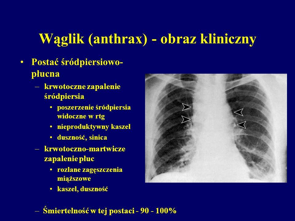Wąglik (anthrax) - obraz kliniczny Postać śródpiersiowo- płucna –krwotoczne zapalenie śródpiersia poszerzenie śródpiersia widoczne w rtg nieproduktywn