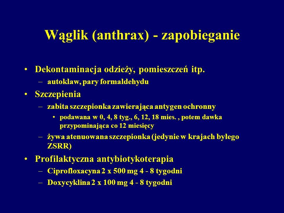 Wąglik (anthrax) - zapobieganie Dekontaminacja odzieży, pomieszczeń itp. –autoklaw, pary formaldehydu Szczepienia –zabita szczepionka zawierająca anty