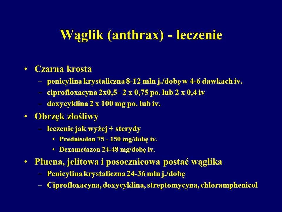 Wąglik (anthrax) - leczenie Czarna krosta –penicylina krystaliczna 8-12 mln j./dobę w 4-6 dawkach iv. –ciprofloxacyna 2x0,5 - 2 x 0,75 po. lub 2 x 0,4