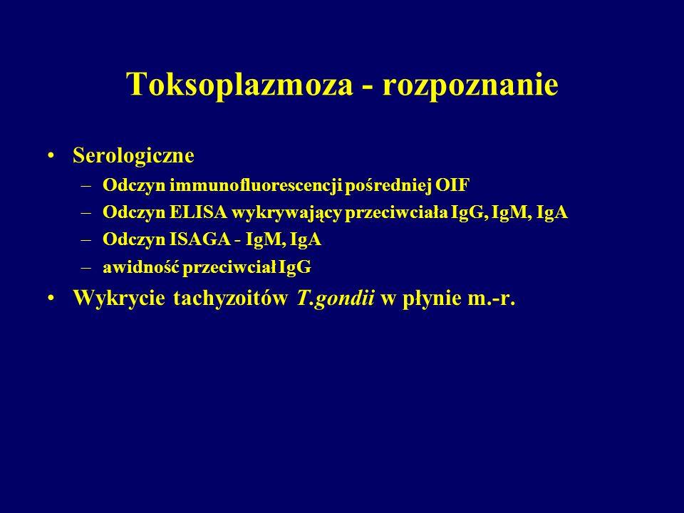 Toksoplazmoza - rozpoznanie Serologiczne –Odczyn immunofluorescencji pośredniej OIF –Odczyn ELISA wykrywający przeciwciała IgG, IgM, IgA –Odczyn ISAGA