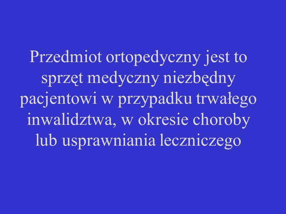 Trzy grupy przedmiotów ortopedycznych: 1.