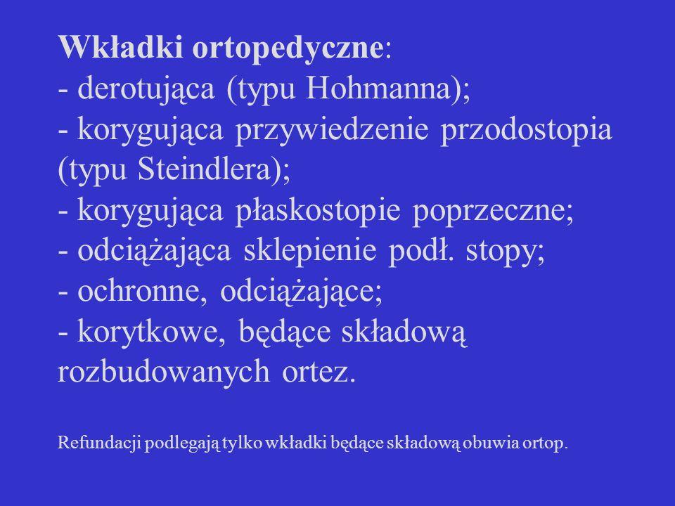 Wkładki ortopedyczne: - derotująca (typu Hohmanna); - korygująca przywiedzenie przodostopia (typu Steindlera); - korygująca płaskostopie poprzeczne; -