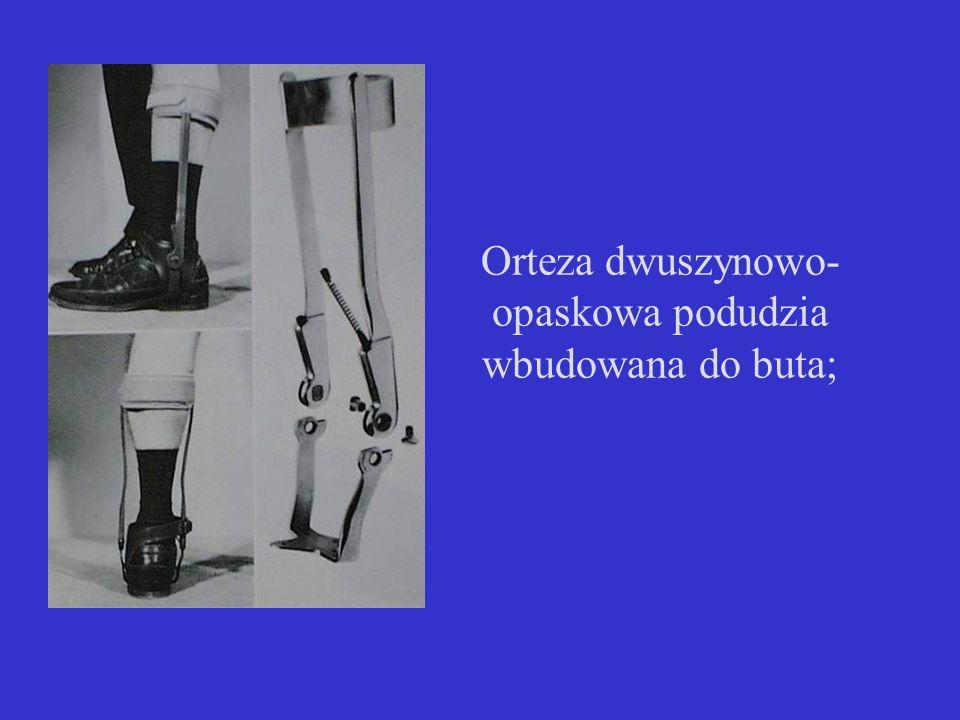 Orteza dwuszynowo- opaskowa podudzia wbudowana do buta;