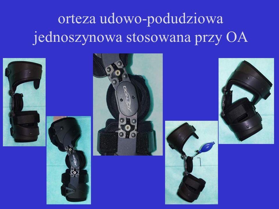 orteza udowo-podudziowa jednoszynowa stosowana przy OA