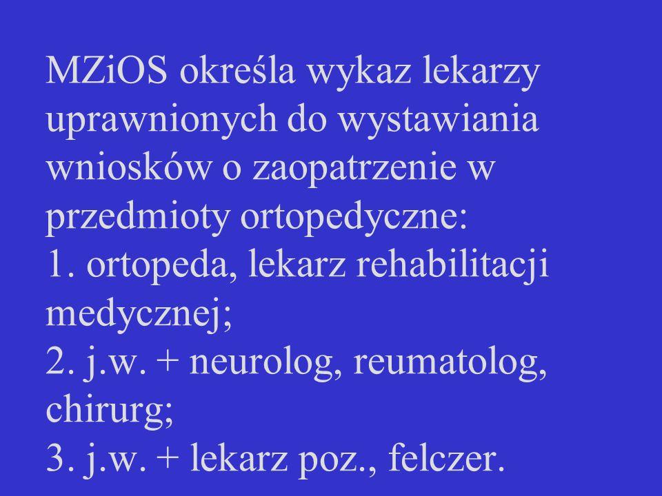 MZiOS określa wykaz lekarzy uprawnionych do wystawiania wniosków o zaopatrzenie w przedmioty ortopedyczne: 1. ortopeda, lekarz rehabilitacji medycznej