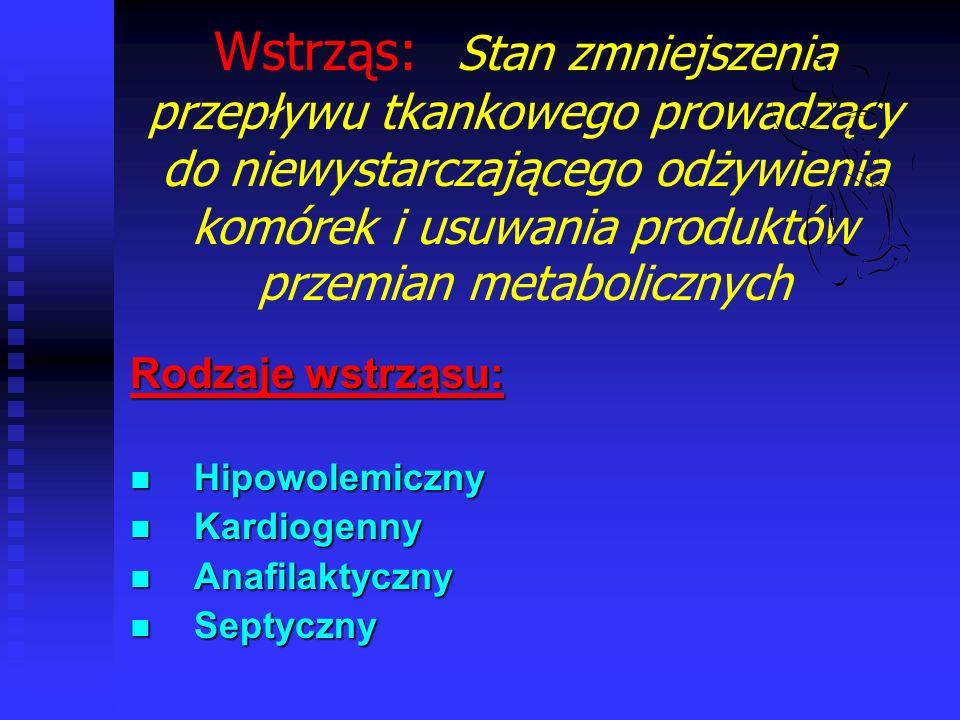 Przyczyny wstrząsu: 1.Zmniejszenie objętości krwi krążącej (wstrząs hipowolemiczny) 2.