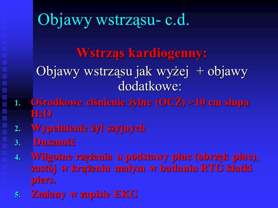 Objawy wstrząsu- c.d.Wstrząs kardiogenny: Objawy wstrząsu jak wyżej + objawy dodatkowe: 1.