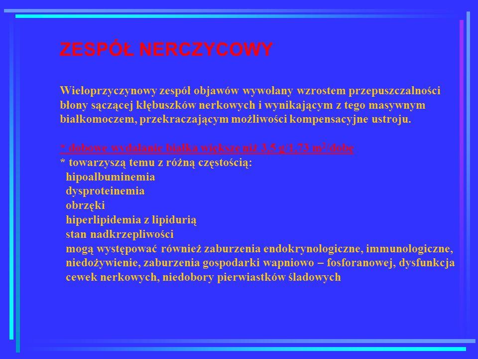 ZESPÓŁ NERCZYCOWY Wieloprzyczynowy zespół objawów wywołany wzrostem przepuszczalności błony sączącej kłębuszków nerkowych i wynikającym z tego masywny