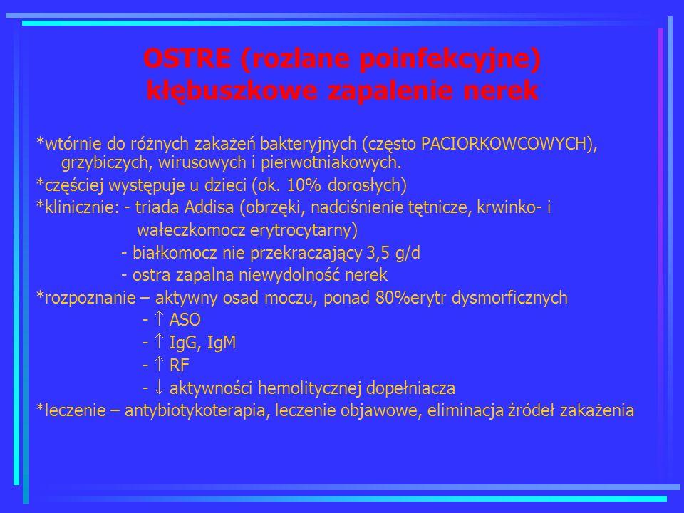 OSTRE (rozlane poinfekcyjne) kłębuszkowe zapalenie nerek *wtórnie do różnych zakażeń bakteryjnych (często PACIORKOWCOWYCH), grzybiczych, wirusowych i