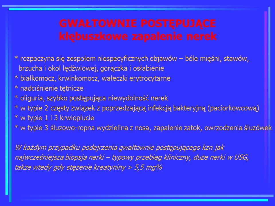 GWAŁTOWNIE POSTĘPUJĄCE kłębuszkowe zapalenie nerek * rozpoczyna się zespołem niespecyficznych objawów – bóle mięśni, stawów, brzucha i okol lędźwiowej