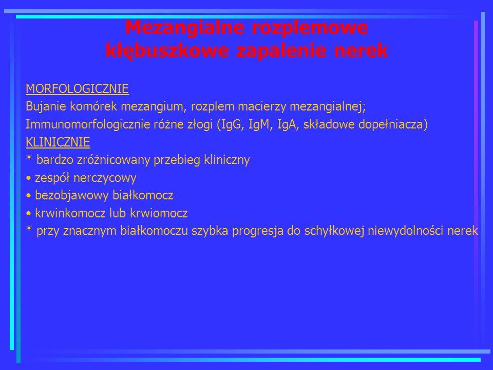 Mezangialne rozplemowe kłębuszkowe zapalenie nerek MORFOLOGICZNIE Bujanie komórek mezangium, rozplem macierzy mezangialnej; Immunomorfologicznie różne