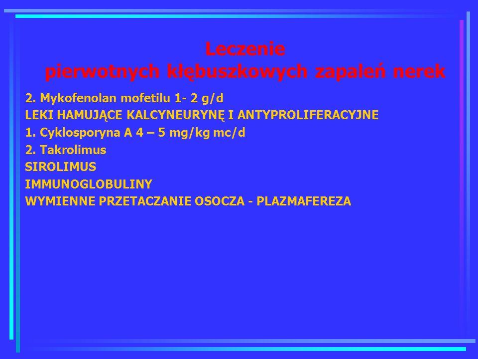 Leczenie pierwotnych kłębuszkowych zapaleń nerek 2. Mykofenolan mofetilu 1- 2 g/d LEKI HAMUJĄCE KALCYNEURYNĘ I ANTYPROLIFERACYJNE 1. Cyklosporyna A 4