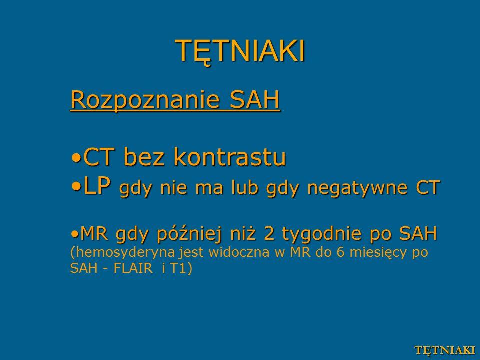 TĘTNIAKI Rozpoznanie SAH CT bez kontrastuCT bez kontrastu LP gdy nie ma lub gdy negatywne CTLP gdy nie ma lub gdy negatywne CT MR gdy później niż 2 tygodnie po SAHMR gdy później niż 2 tygodnie po SAH (hemosyderyna jest widoczna w MR do 6 miesięcy po SAH - FLAIR i T1) TĘTNIAKI