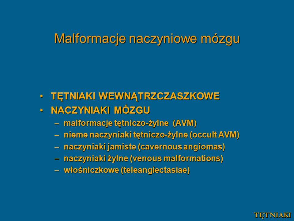 Malformacje naczyniowe mózgu TĘTNIAKI WEWNĄTRZCZASZKOWETĘTNIAKI WEWNĄTRZCZASZKOWE NACZYNIAKI MÓZGUNACZYNIAKI MÓZGU –malformacje tętniczo-żylne (AVM) –nieme naczyniaki tętniczo-żylne (occult AVM) –naczyniaki jamiste (cavernous angiomas) –naczyniaki żylne (venous malformations) –włośniczkowe (teleangiectasiae) TĘTNIAKI
