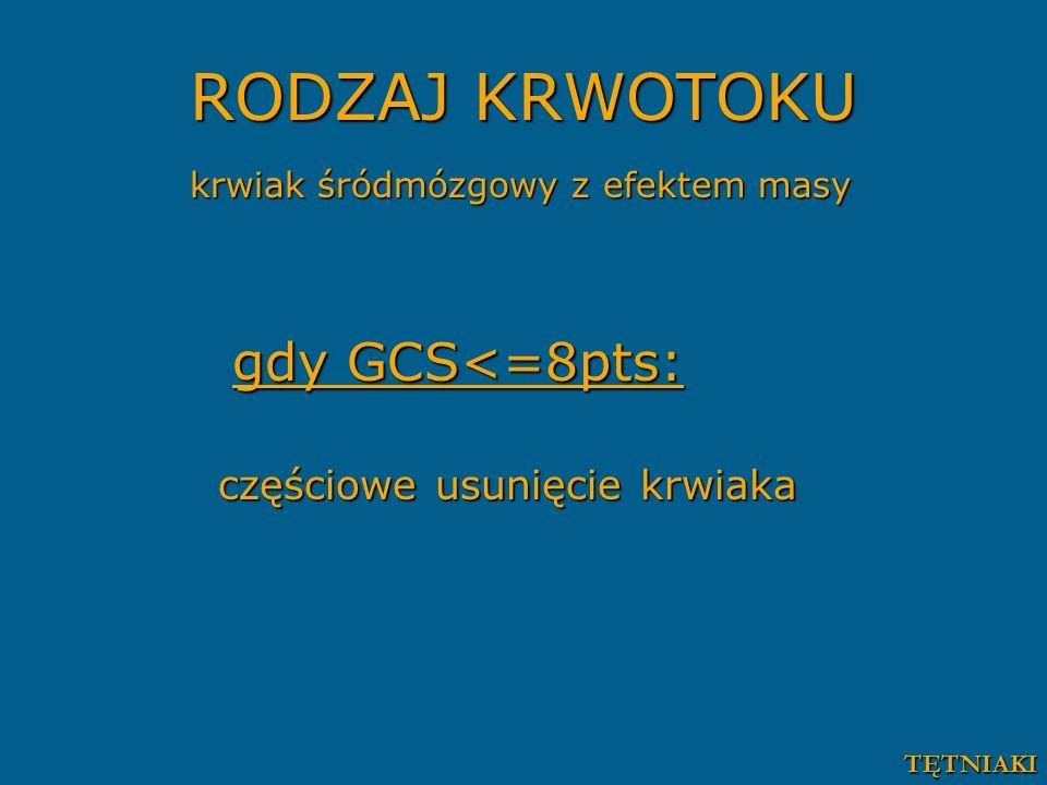 RODZAJ KRWOTOKU krwiak śródmózgowy z efektem masy gdy GCS<=8pts: gdy GCS<=8pts: częściowe usunięcie krwiaka TĘTNIAKI