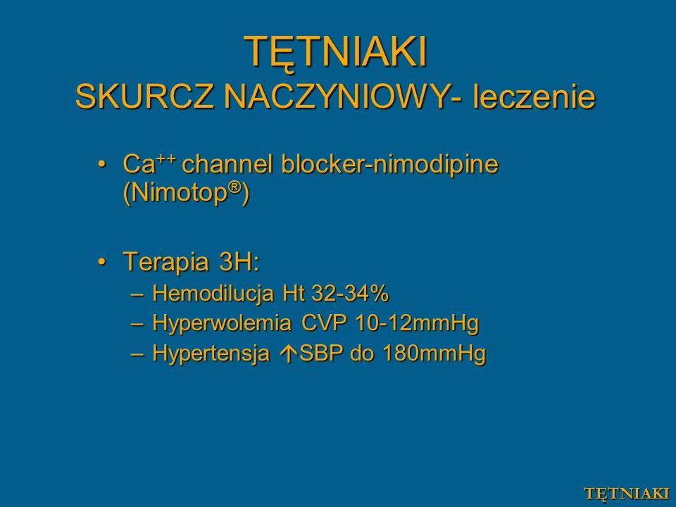 Ca ++ channel blocker-nimodipine (Nimotop ® )Ca ++ channel blocker-nimodipine (Nimotop ® ) Terapia 3H:Terapia 3H: –Hemodilucja Ht 32-34% –Hyperwolemia CVP 10-12mmHg –Hypertensja  SBP do 180mmHg TĘTNIAKI SKURCZ NACZYNIOWY- leczenie TĘTNIAKI