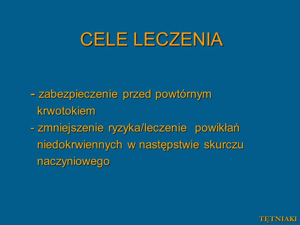 CELE LECZENIA - zabezpieczenie przed powtórnym krwotokiem krwotokiem - zmniejszenie ryzyka/leczenie powikłań niedokrwiennych w następstwie skurczu nie