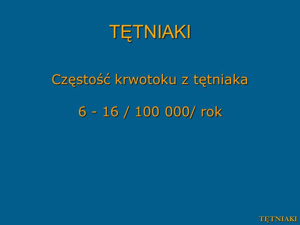 Częstość krwotoku z tętniaka 6 - 16 / 100 000/ rok TĘTNIAKI TĘTNIAKI
