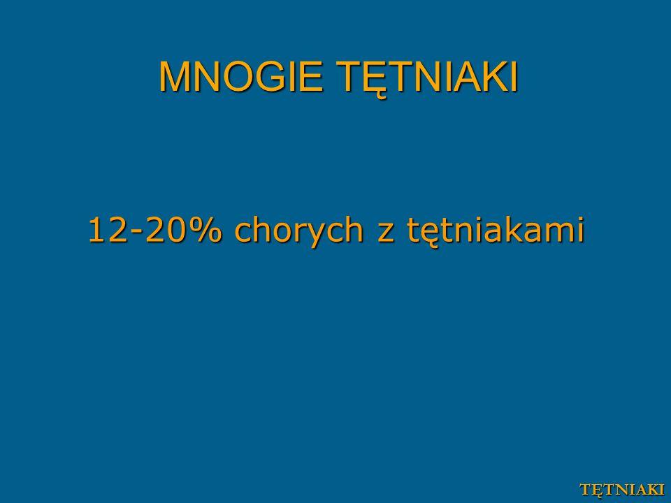 MNOGIE TĘTNIAKI 12-20% chorych z tętniakami TĘTNIAKI