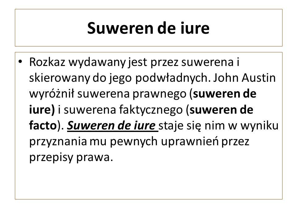 Suweren de iure Rozkaz wydawany jest przez suwerena i skierowany do jego podwładnych.