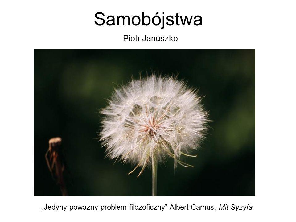 """Samobójstwa """"Jedyny poważny problem filozoficzny"""" Albert Camus, Mit Syzyfa Piotr Januszko"""