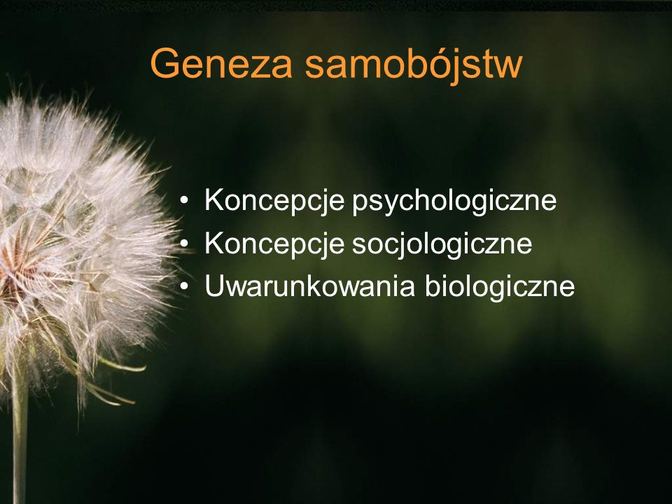 Geneza samobójstw Koncepcje psychologiczne Koncepcje socjologiczne Uwarunkowania biologiczne