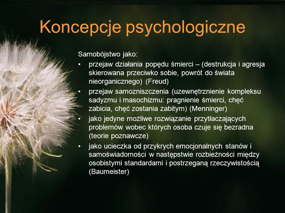 Koncepcje psychologiczne Samobójstwo jako: przejaw działania popędu śmierci – (destrukcja i agresja skierowana przeciwko sobie, powrót do świata nieor