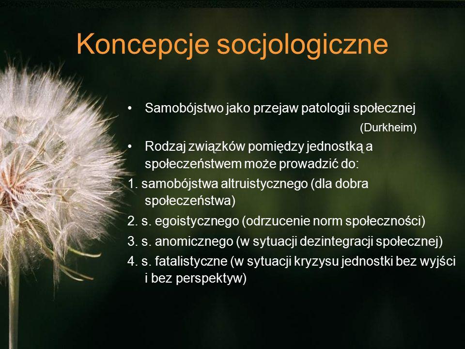 Koncepcje socjologiczne Samobójstwo jako przejaw patologii społecznej (Durkheim) Rodzaj związków pomiędzy jednostką a społeczeństwem może prowadzić do