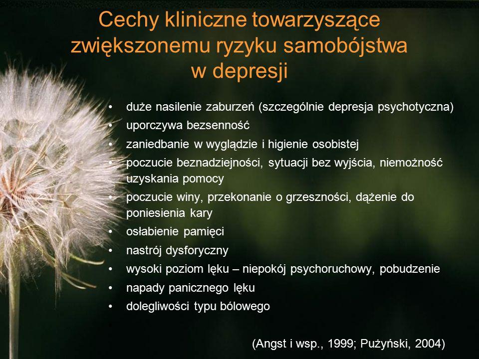 Cechy kliniczne towarzyszące zwiększonemu ryzyku samobójstwa w depresji duże nasilenie zaburzeń (szczególnie depresja psychotyczna) uporczywa bezsenność zaniedbanie w wyglądzie i higienie osobistej poczucie beznadziejności, sytuacji bez wyjścia, niemożność uzyskania pomocy poczucie winy, przekonanie o grzeszności, dążenie do poniesienia kary osłabienie pamięci nastrój dysforyczny wysoki poziom lęku – niepokój psychoruchowy, pobudzenie napady panicznego lęku dolegliwości typu bólowego (Angst i wsp., 1999; Pużyński, 2004)