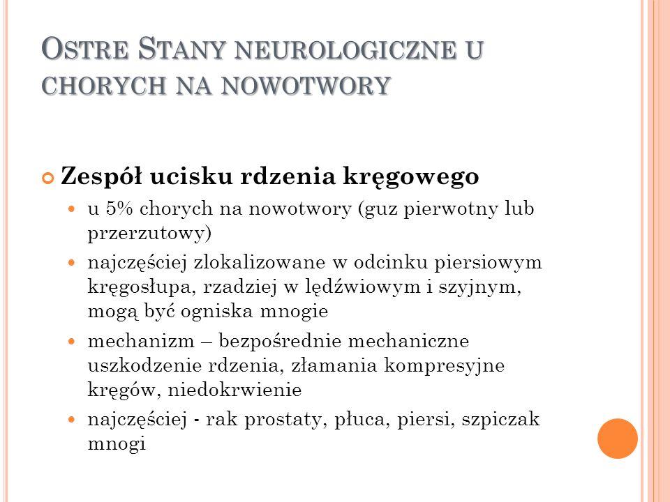 O STRE S TANY NEUROLOGICZNE U CHORYCH NA NOWOTWORY Zespół ucisku rdzenia kręgowego u 5% chorych na nowotwory (guz pierwotny lub przerzutowy) najczęści