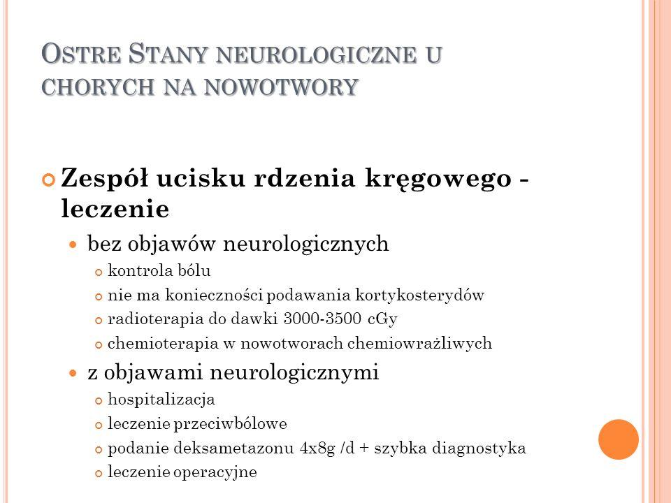 O STRE S TANY NEUROLOGICZNE U CHORYCH NA NOWOTWORY Zespół ucisku rdzenia kręgowego - leczenie bez objawów neurologicznych kontrola bólu nie ma koniecz