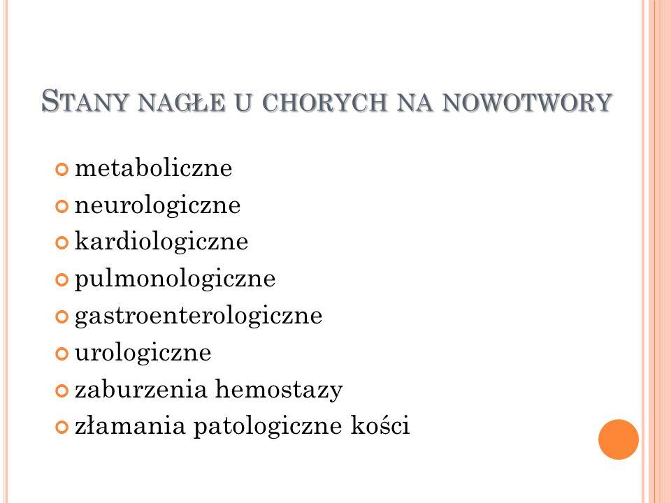 S TANY NAGŁE U CHORYCH NA NOWOTWORY metaboliczne neurologiczne kardiologiczne pulmonologiczne gastroenterologiczne urologiczne zaburzenia hemostazy zł