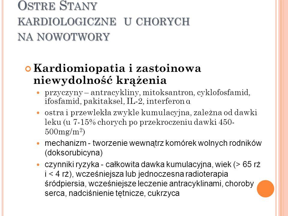 O STRE S TANY KARDIOLOGICZNE U CHORYCH NA NOWOTWORY Kardiomiopatia i zastoinowa niewydolność krążenia przyczyny – antracykliny, mitoksantron, cyklofos