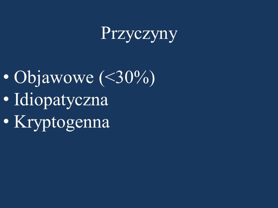 Przyczyny Objawowe (<30%) Idiopatyczna Kryptogenna