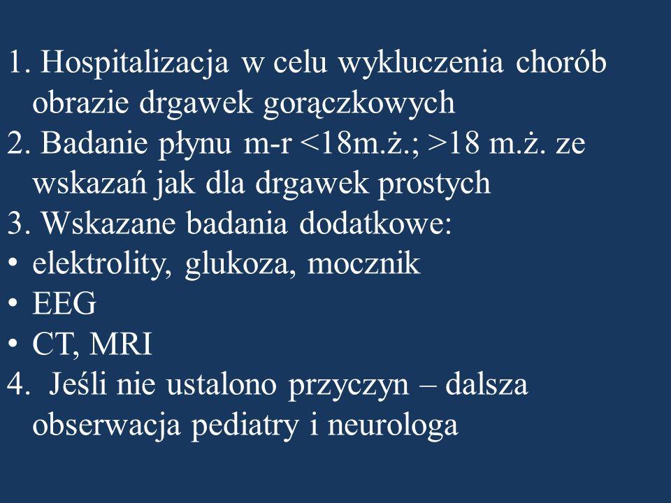 1. Hospitalizacja w celu wykluczenia chorób obrazie drgawek gorączkowych 2. Badanie płynu m-r 18 m.ż. ze wskazań jak dla drgawek prostych 3. Wskazane