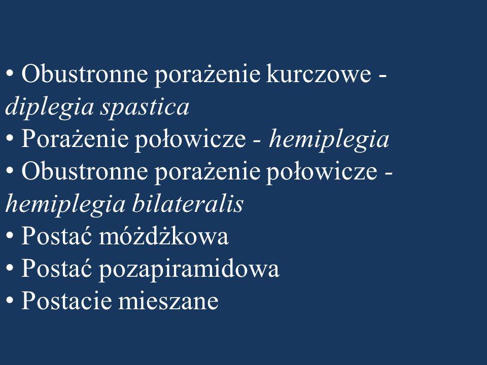 Obustronne porażenie kurczowe - diplegia spastica Porażenie połowicze - hemiplegia Obustronne porażenie połowicze - hemiplegia bilateralis Postać móżdżkowa Postać pozapiramidowa Postacie mieszane