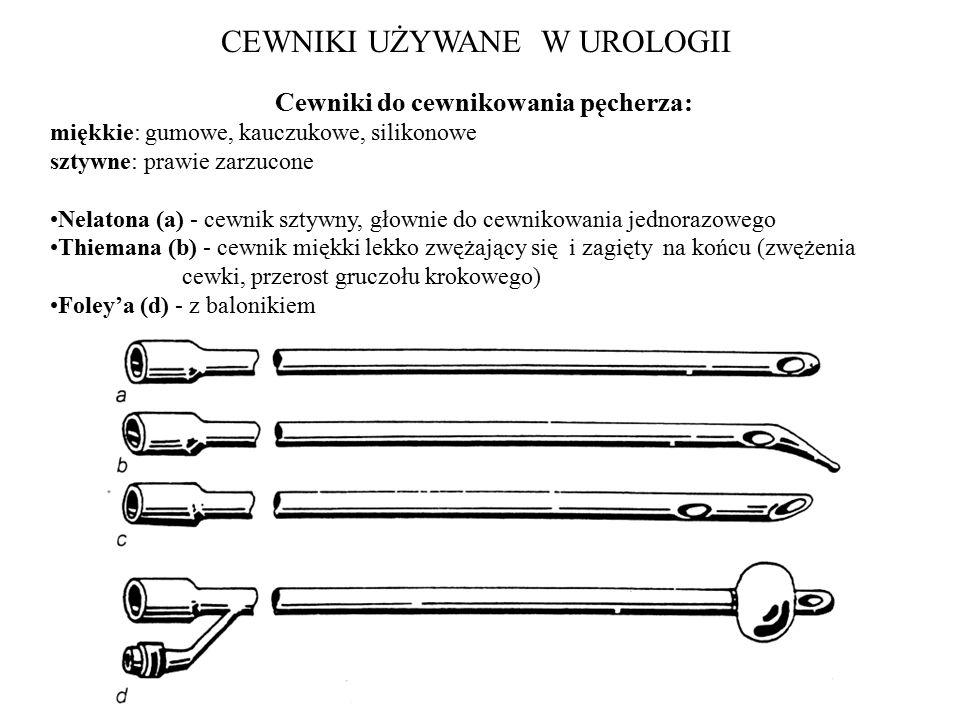 Cewniki używane do przetoki nadłonowej zakończone główką Pezzera (a); Malecota (b); Cystofix obecnie stosowane specjalne cewniki do wprowadzania przezskórnego przez trójgraniec – po wycofaniu mandrynu koniec jego zagina się jak świński ogon, co zapobiega wysuwaniu się (do nakłucia nerki lub pęcherza).