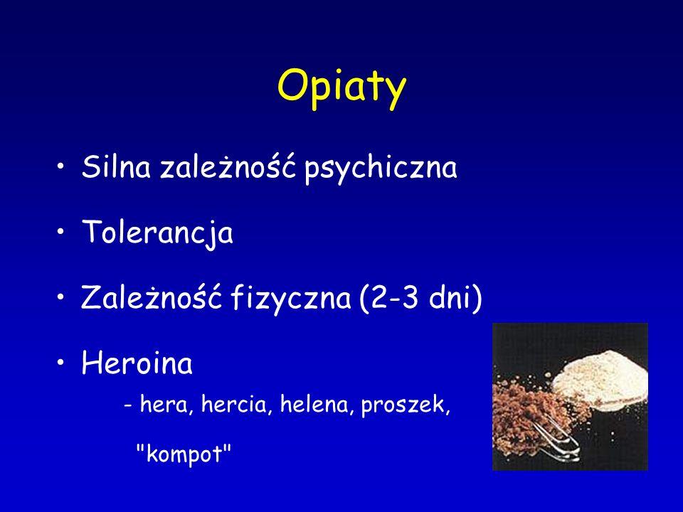 Opiaty Silna zależność psychiczna Tolerancja Zależność fizyczna (2-3 dni) Heroina - hera, hercia, helena, proszek,