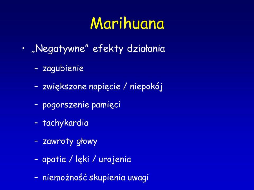 """Marihuana """"Negatywne"""" efekty działania –zagubienie –zwiększone napięcie / niepokój –pogorszenie pamięci –tachykardia –zawroty głowy –apatia / lęki / u"""