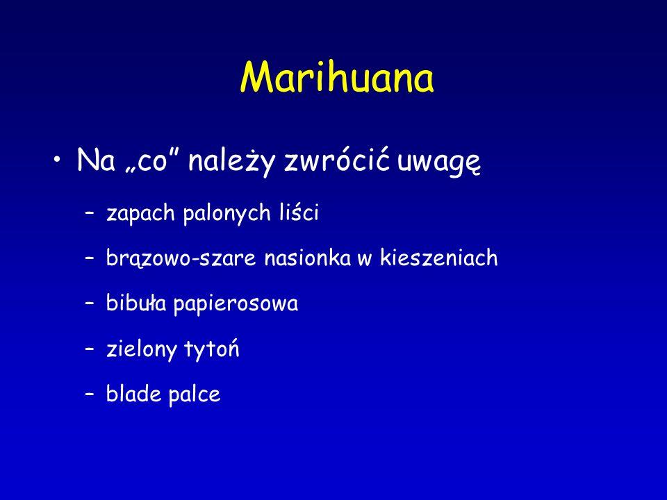"""Marihuana Na """"co"""" należy zwrócić uwagę –zapach palonych liści –brązowo-szare nasionka w kieszeniach –bibuła papierosowa –zielony tytoń –blade palce"""