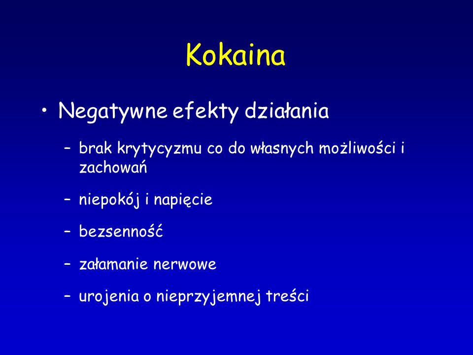 Kokaina Negatywne efekty działania –brak krytycyzmu co do własnych możliwości i zachowań –niepokój i napięcie –bezsenność –załamanie nerwowe –urojenia
