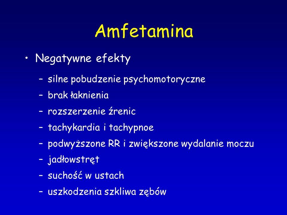 Amfetamina Negatywne efekty –silne pobudzenie psychomotoryczne –brak łaknienia –rozszerzenie źrenic –tachykardia i tachypnoe –podwyższone RR i zwiększ