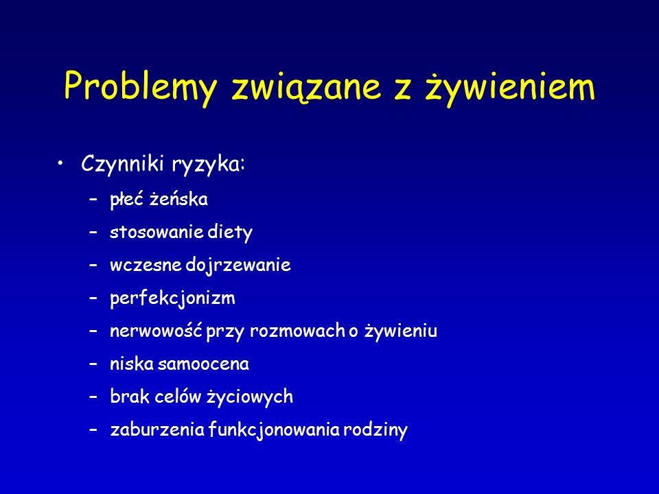 Problemy związane z żywieniem Czynniki ryzyka: –płeć żeńska –stosowanie diety –wczesne dojrzewanie –perfekcjonizm –nerwowość przy rozmowach o żywieniu
