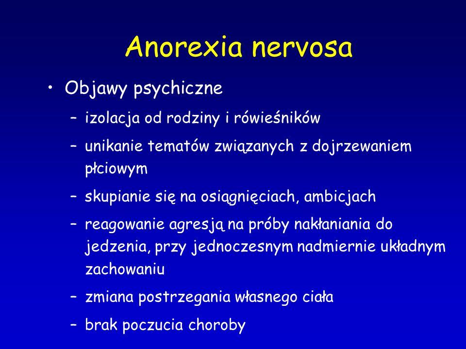 Anorexia nervosa Objawy psychiczne –izolacja od rodziny i rówieśników –unikanie tematów związanych z dojrzewaniem płciowym –skupianie się na osiągnięc