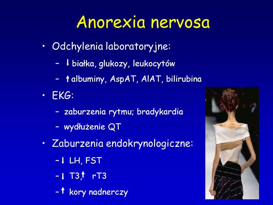 Anorexia nervosa Odchylenia laboratoryjne: – białka, glukozy, leukocytów – albuminy, AspAT, AlAT, bilirubina EKG: –zaburzenia rytmu; bradykardia –wydł