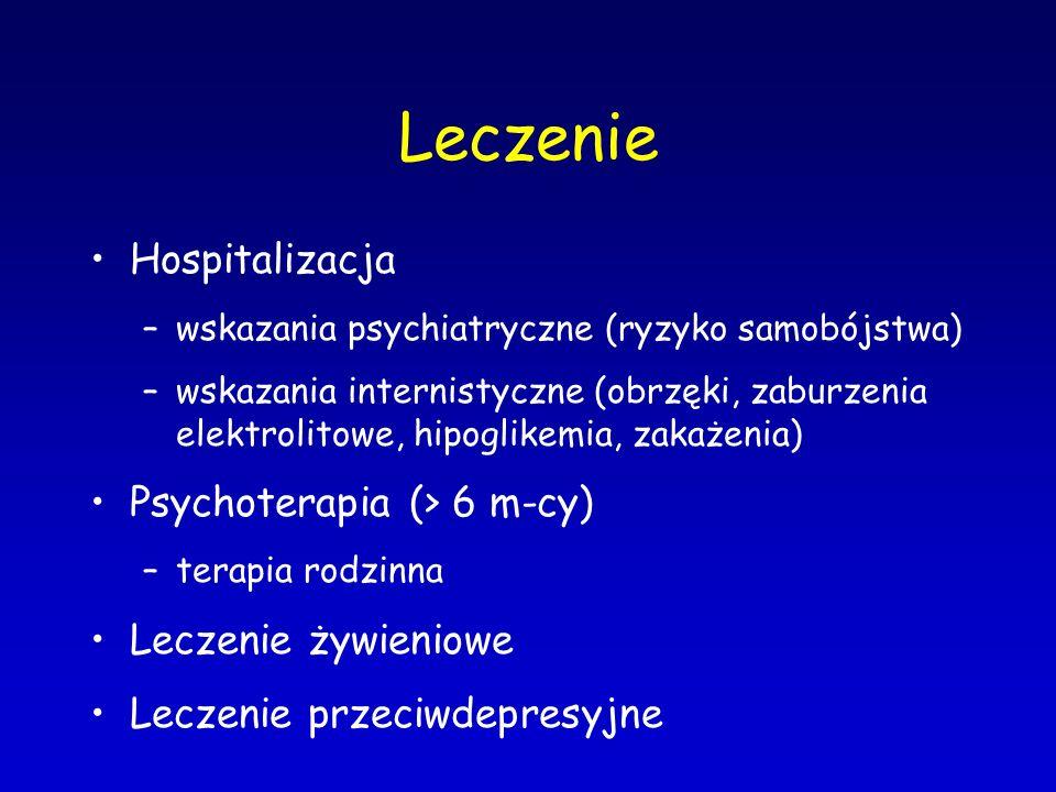 Leczenie Hospitalizacja –wskazania psychiatryczne (ryzyko samobójstwa) –wskazania internistyczne (obrzęki, zaburzenia elektrolitowe, hipoglikemia, zak