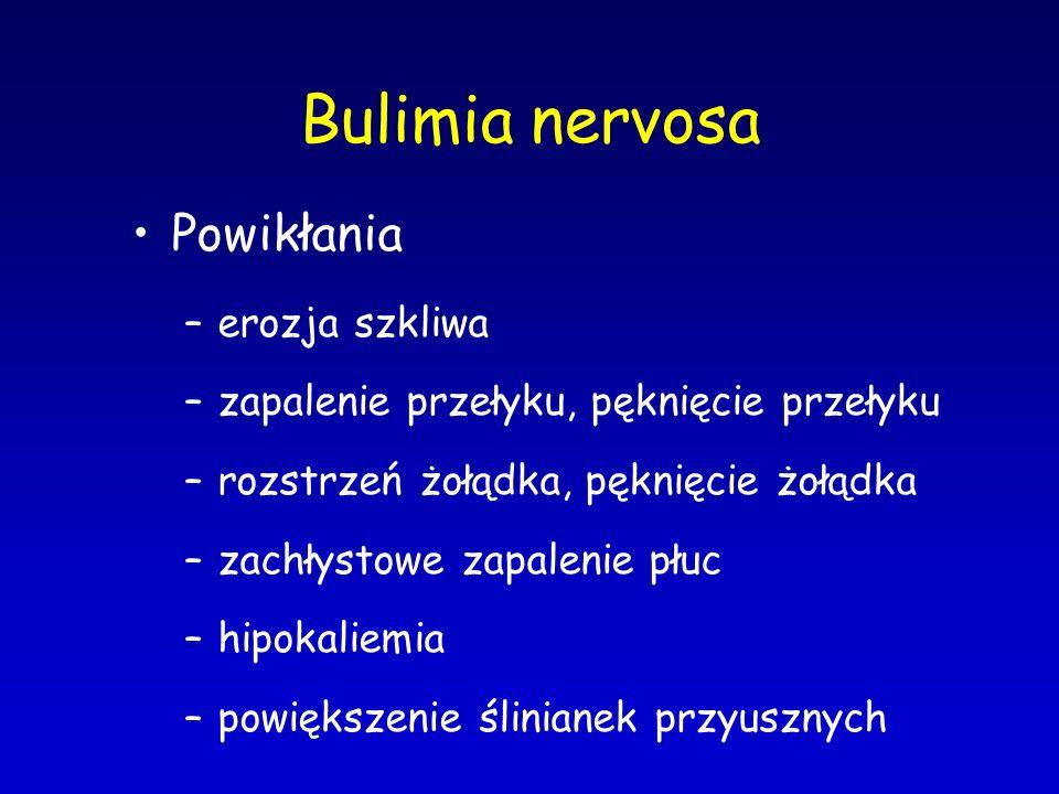 Bulimia nervosa Powik ł ania –erozja szkliwa –zapalenie przełyku, pęknięcie przełyku –rozstrzeń żołądka, pęknięcie żołądka –zachłystowe zapalenie płuc